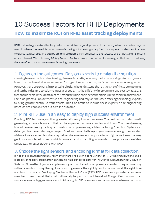 Success Factors for RFID Deployments White Paper