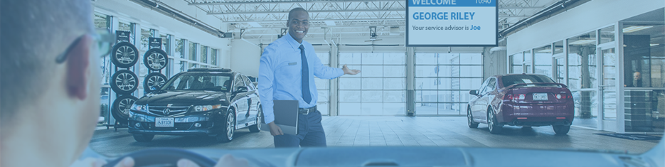 Recognize customer vehicles entering the service drive